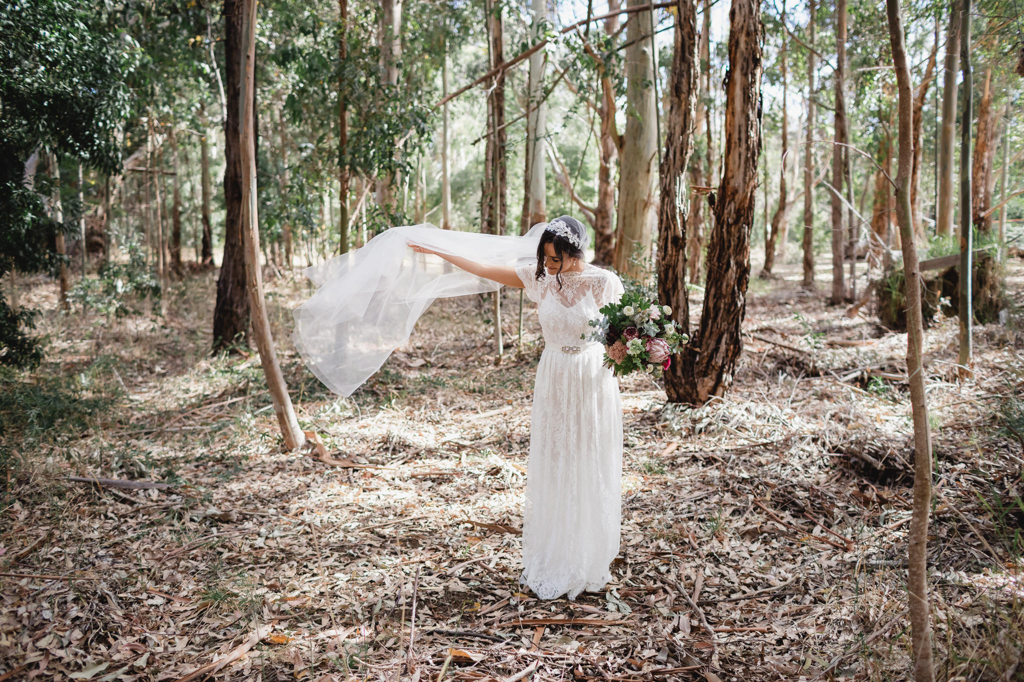 bride with Juliet veil standing in eucalyptus trees with native protea flower wedding bouquet