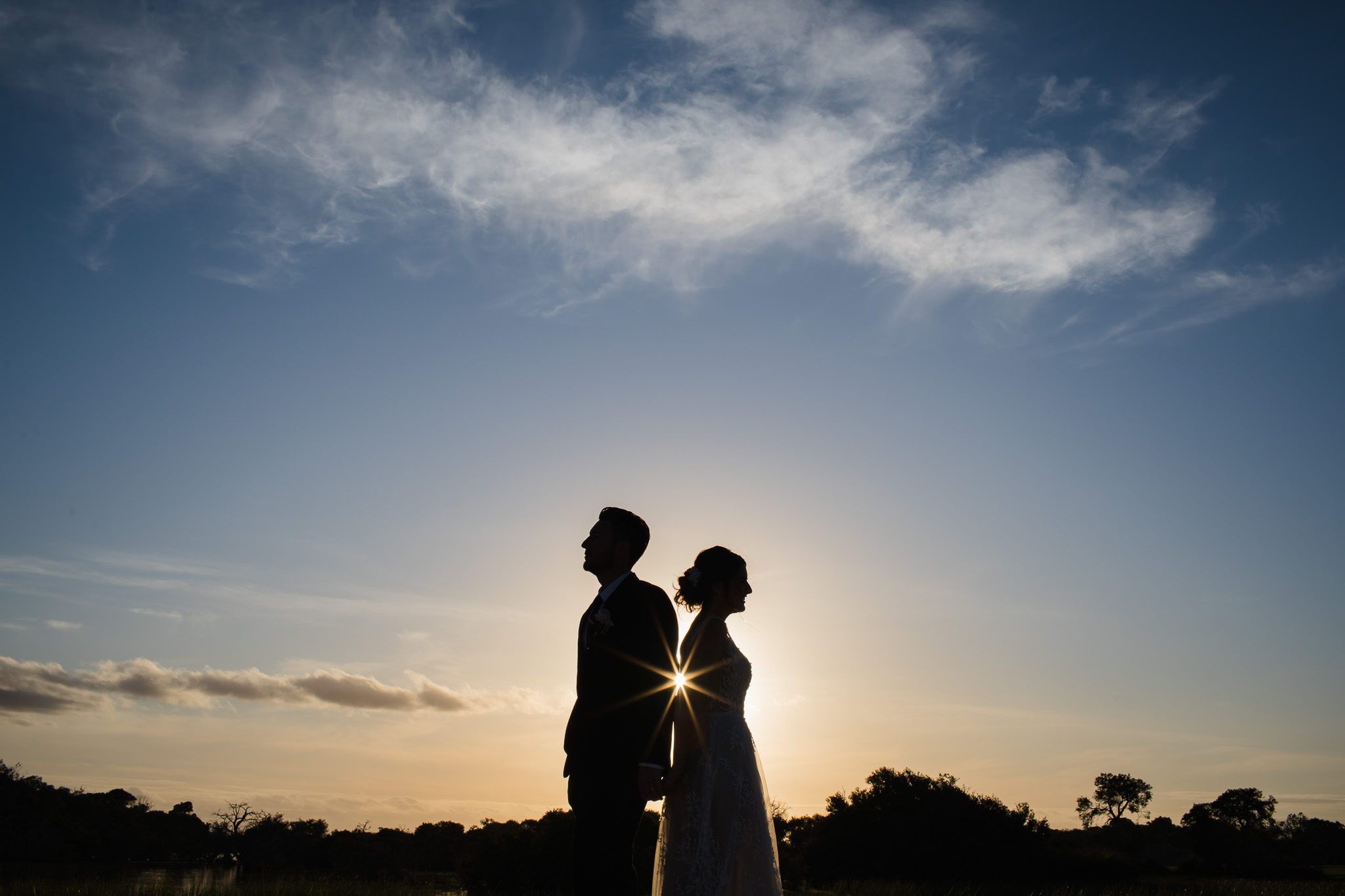 Bride and groom at sunset at Old Broadwater Farm standing back to back with sun star in between them