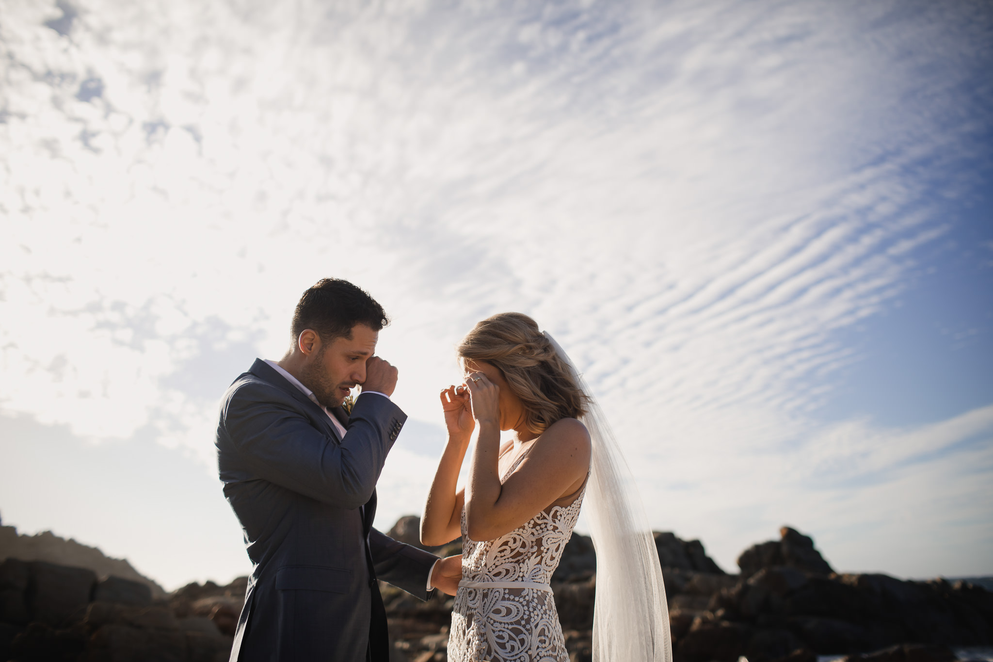 Bride and groom crying happy tears during their destination elopement near Dunsborough
