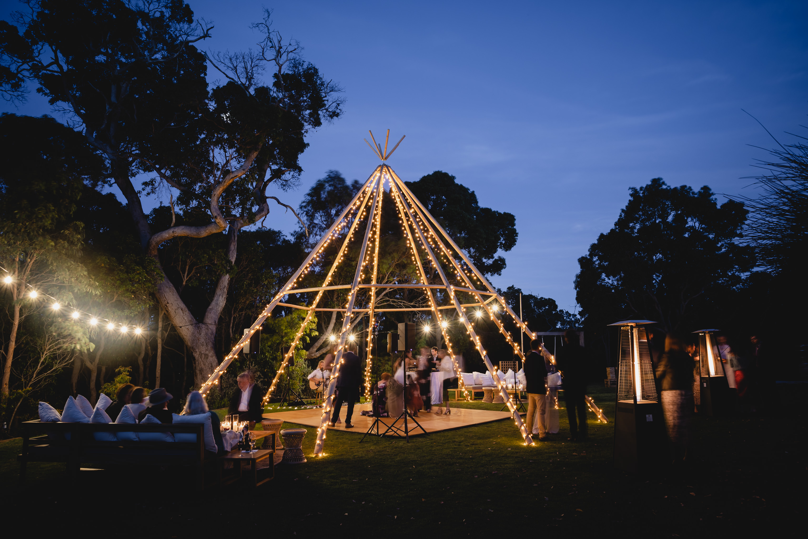 Sunset photo of giant naked tipi from Yallingup Event Hire at a wedding reception at Meelup Farmhouse